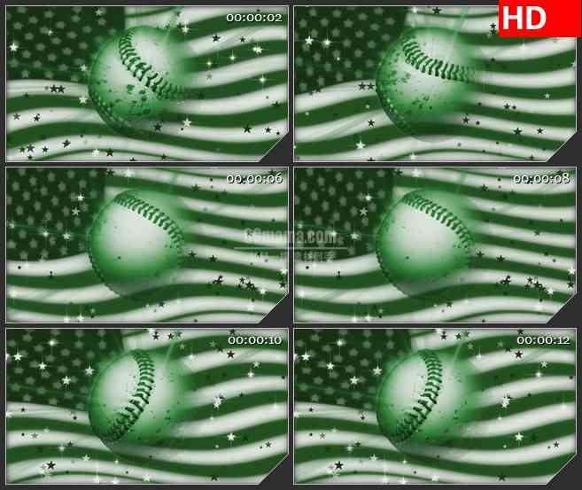 BG2262旋转的绿色棒球球美国国旗动态LED高清背景素材