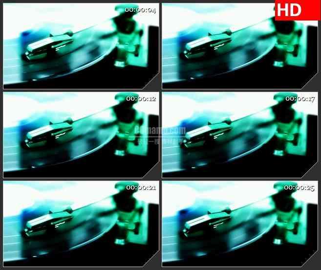 BG2263旋转的绿色唱机转动音乐动态LED高清背景素材