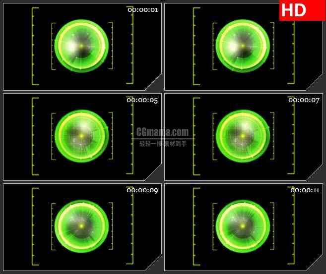BG2265旋转的绿色发光球能量球动态LED高清背景素材