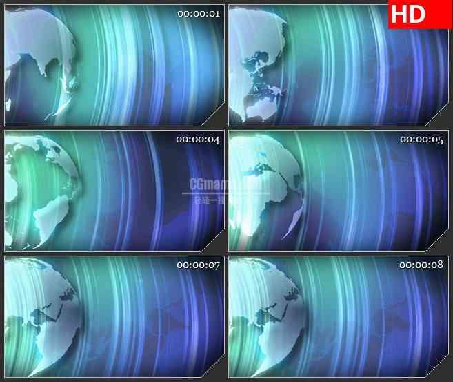 BG2276旋转的三维地球旋转蓝色辐射束动态LED高清视频背景素材