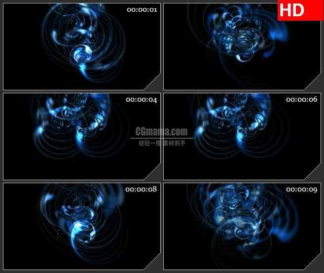 BG2278旋转的水蓝色同心圆旋转扩散光芒动态LED高清视频背景素材