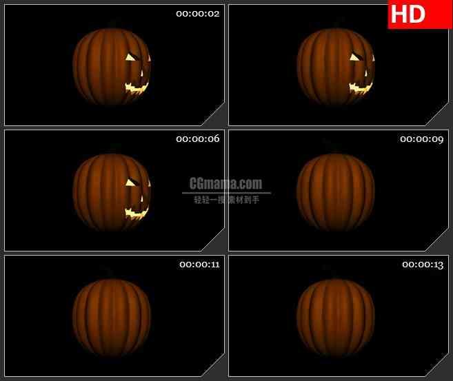 BG2279旋转的万圣节南瓜黑色背景带透明通道动态LED高清视频背景素材
