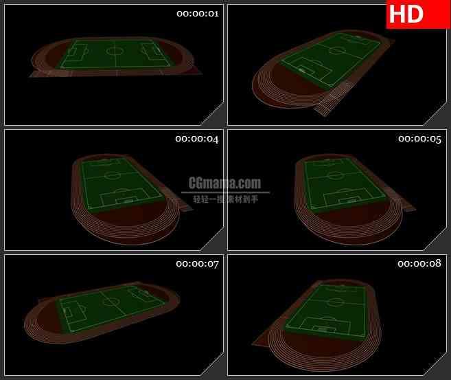 BG2289旋转的足球场带环形跑道三维模型黑色背景带透明通道动态LED高清视频背景素材