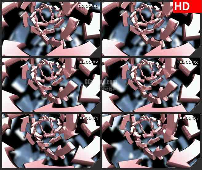 BG2295旋转粉红色箭头漩涡背景动态LED高清视频背景素材