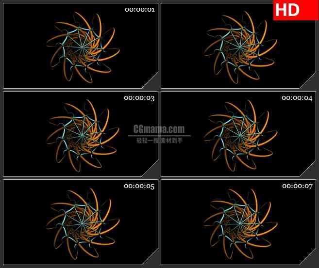 BG2301旋转蓝色橙色线圈环绕线黑色背景带透明通道动态LED高清视频背景素材