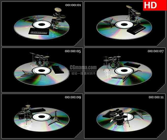 BG2307旋转音乐光盘架子鼓 电贝司 电子琴带透明通道黑色背景动态LED高清视频背景素材