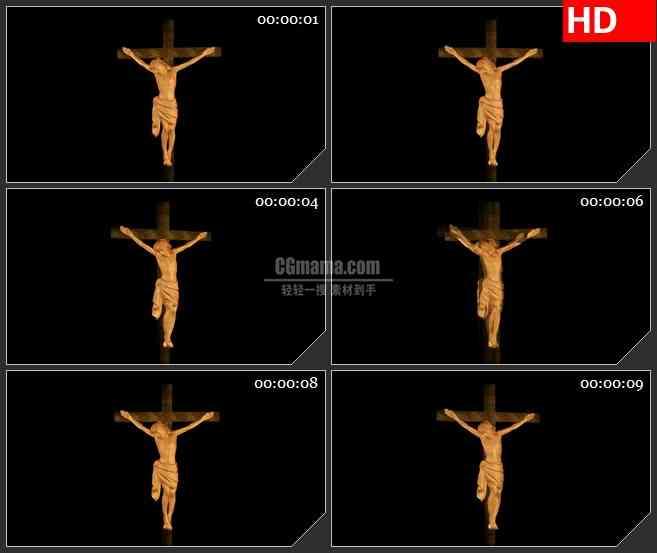 BG2316耶稣木十字架塑像旋转黑色背景带透明通道动态LED高清视频背景素材
