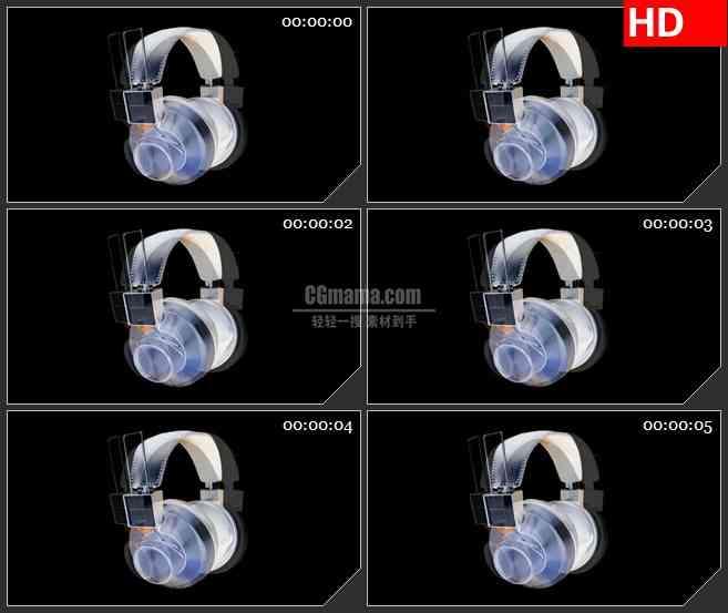 BG2348耳机快速旋转高清led大屏视频背景素材