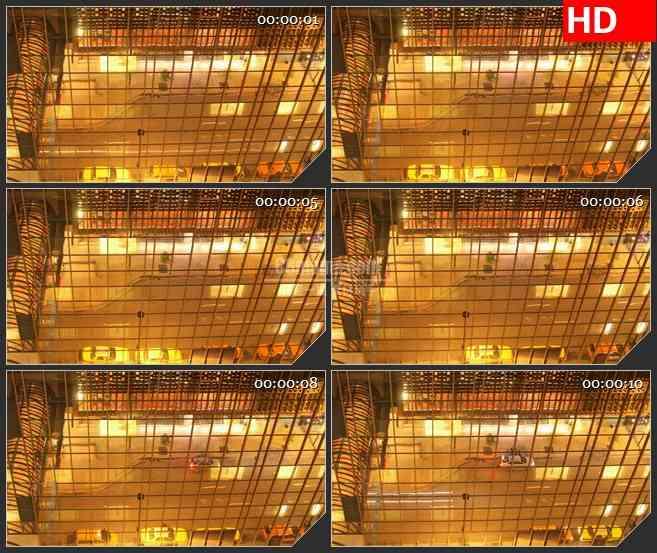 BG2350俯视金色大厅汽车动态图高清led大屏视频背景素材