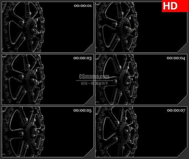 BG2365黑色粒子齿轮旋转高清led大屏视频背景素材