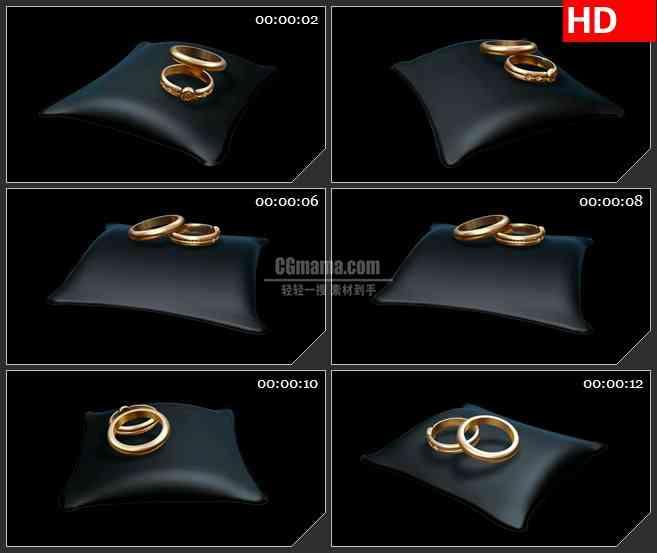 BG2371黑枕金戒指旋转高清led大屏视频背景素材