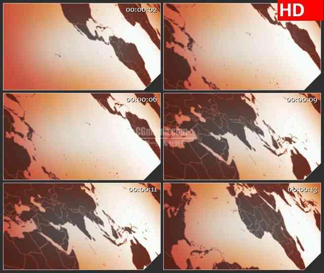 BG2376红色世界地图侧视图移动高清led大屏视频背景素材