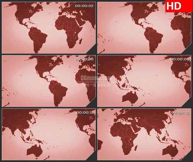 BG2377红色世界地图正视图移动高清led大屏视频背景素材