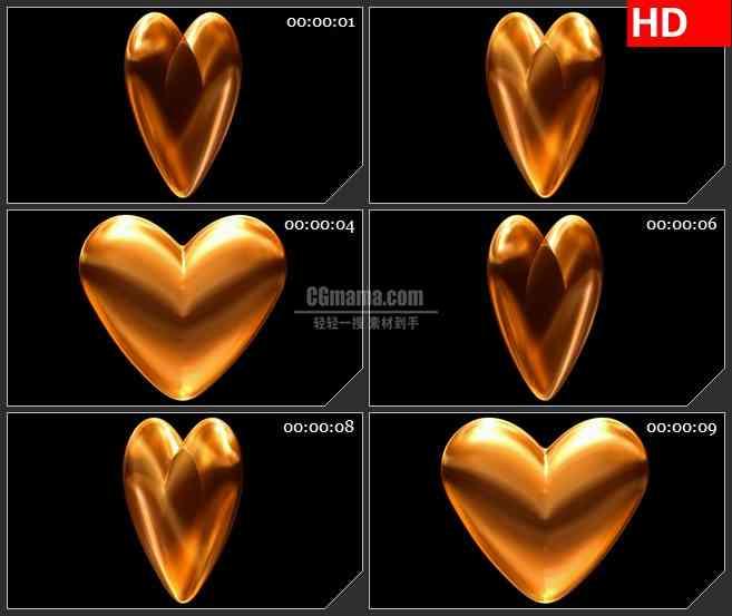 BG2391金色透明心旋转高清led大屏视频背景素材