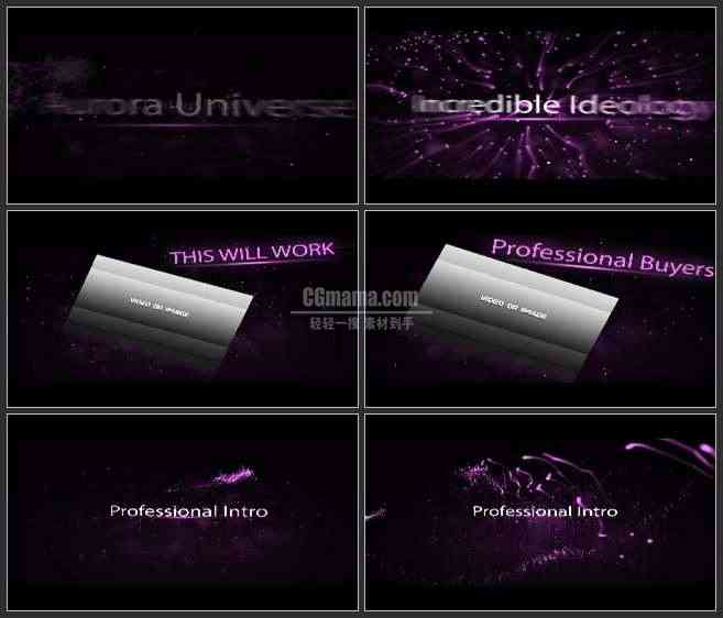 AE3250-紫色星光沙粒 时尚 文本视频展示 宣传片