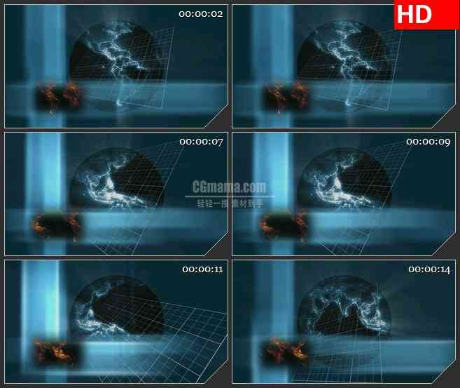 BG2395空间蓝色地球荧光旋转2高清led大屏视频背景素材