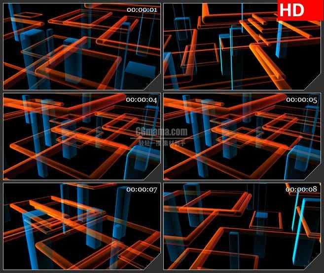 BG2420蓝色红色矩形光束旋转高清led大屏视频背景素材