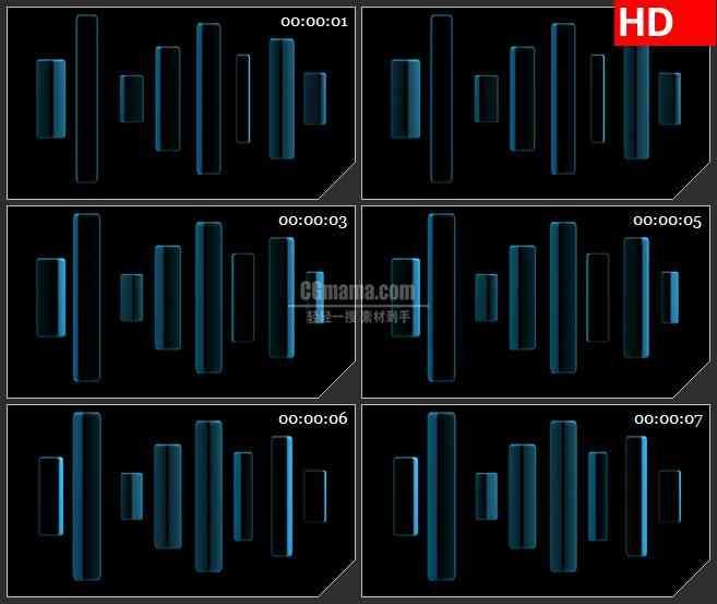 BG2423蓝色矩形三维旋转高清led大屏视频背景素材