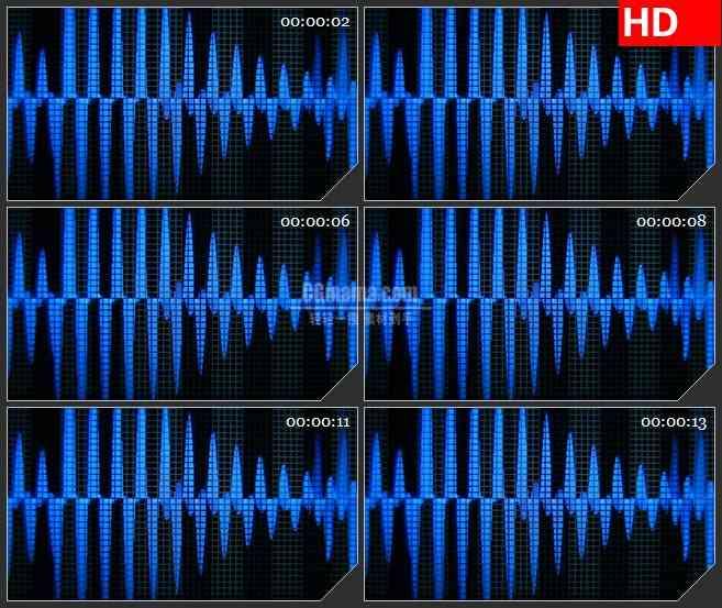 BG2426蓝色声音音序器起伏波动高清led大屏视频背景素材