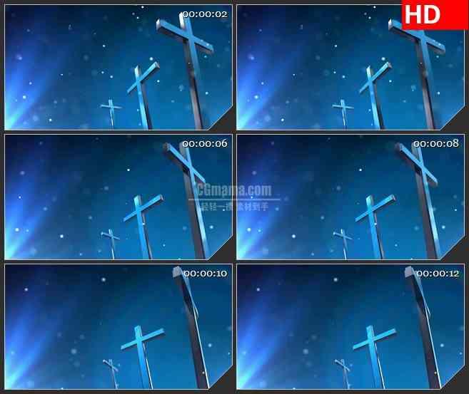 BG2427蓝色十字架荧光粒子旋转高清led大屏视频背景素材