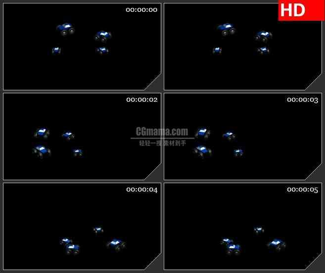 BG2434蓝色玩具汽车旋转高清led大屏视频背景素材