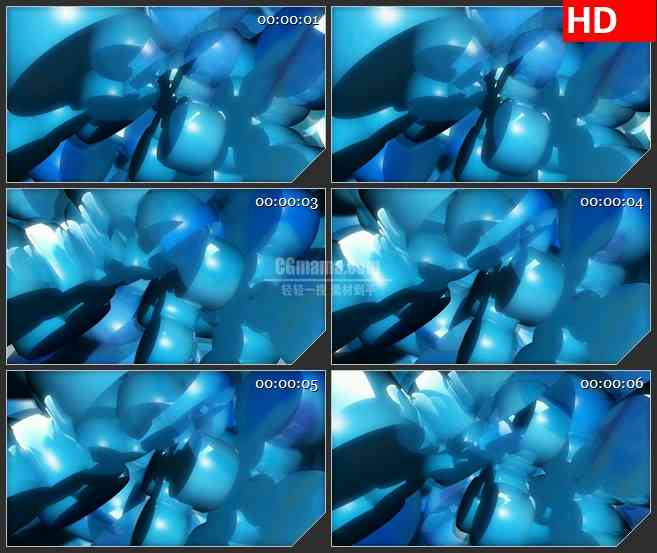 BG2437蓝色雪花旋转三维高清led大屏视频背景素材