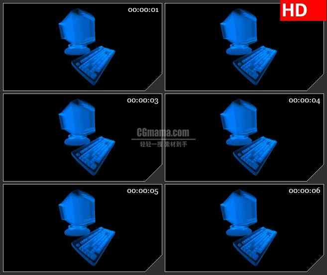 BG2440蓝色荧光电脑旋转高清led大屏视频背景素材