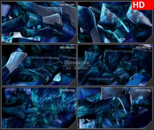 BG2442蓝色荧光矩形旋转高清led大屏视频背景素材