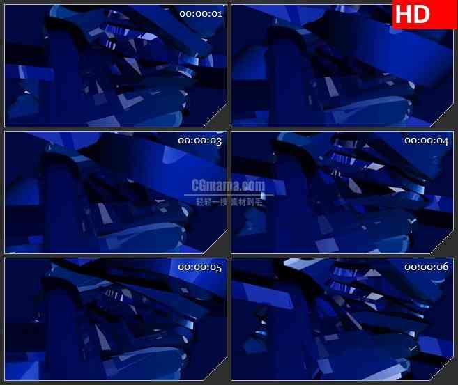 BG2453蓝色字母X三维旋转高清led大屏视频背景素材