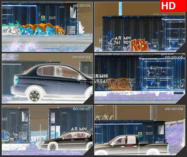 BG2457列车行驶在街道高清led大屏视频背景素材