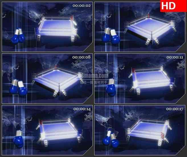 BG2481拳击手套比赛场旋转高清led大屏视频背景素材