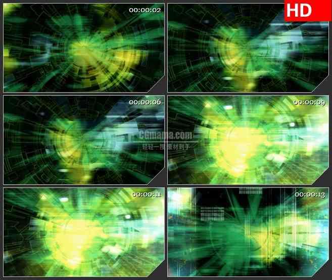 BG2483人眼齿轮绿色黄色光线闪烁旋转高清led大屏视频背景素材
