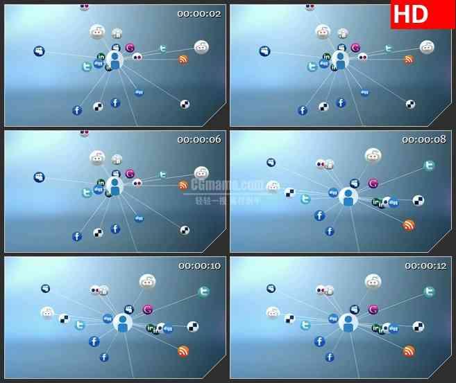 BG2487社交网络领域框架旋转高清led大屏视频背景素材