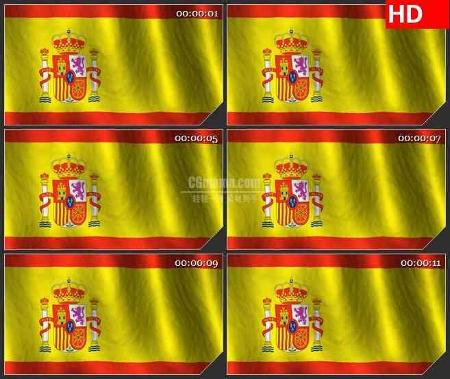 bg2500西班牙国旗飘动高清led大屏视频背景素材