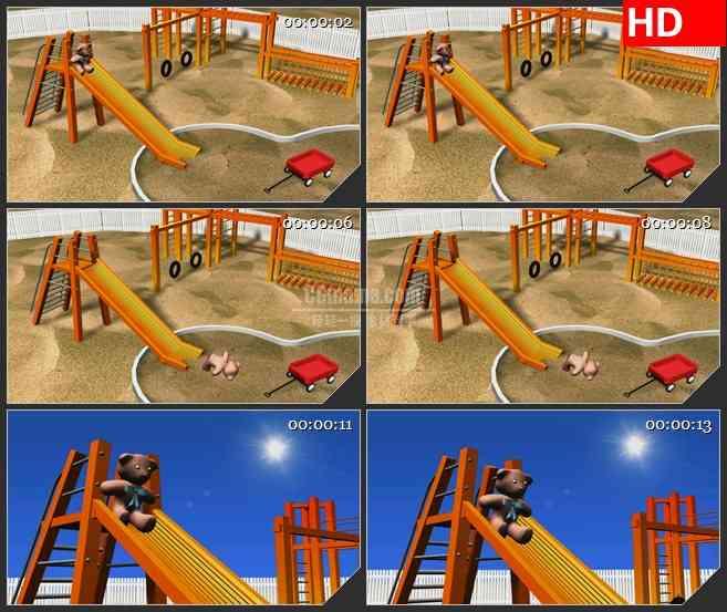BG2503小熊沙地滑滑梯娱乐高清led大屏视频背景素材