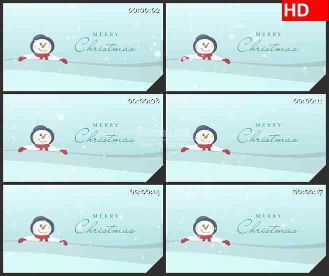 BG2517雪人圣诞快乐高清led大屏视频背景素材