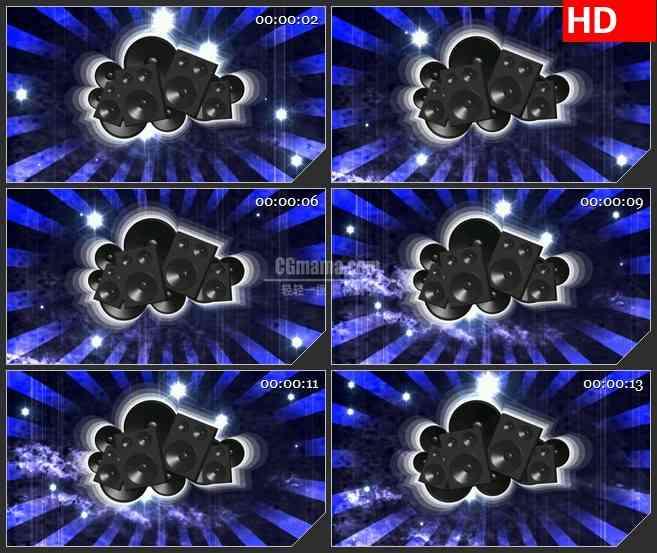 BG2525扬声器蓝黑色背景旋转高清led大屏视频背景素材