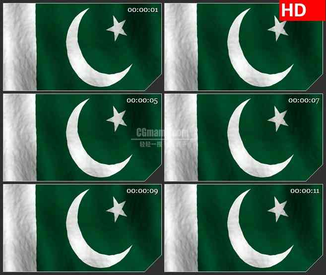 BG2572巴基斯坦国旗飘动高清led大屏视频背景素材