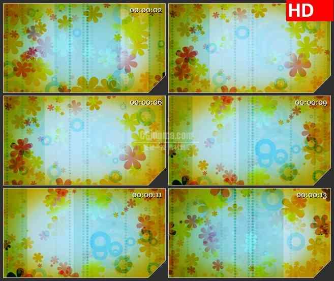 BG2626复古花朵旋转条纹高清led大屏视频背景素材