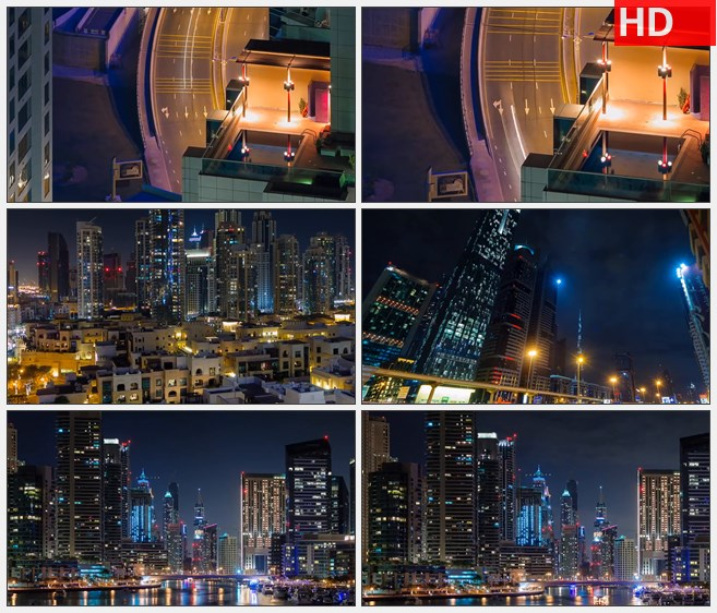 ZY1237阿联酋迪拜高楼建筑航拍夜景道路车流霓虹高清实拍视频素材