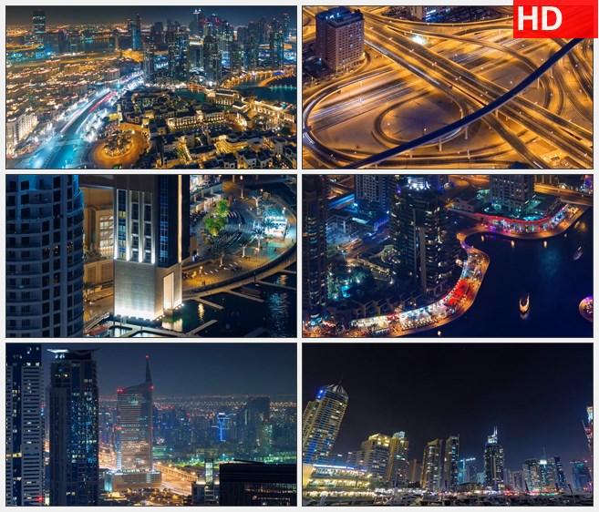 ZY1239阿联酋迪拜交通城市街景迪拜塔帆船酒店航拍高清实拍视频素材