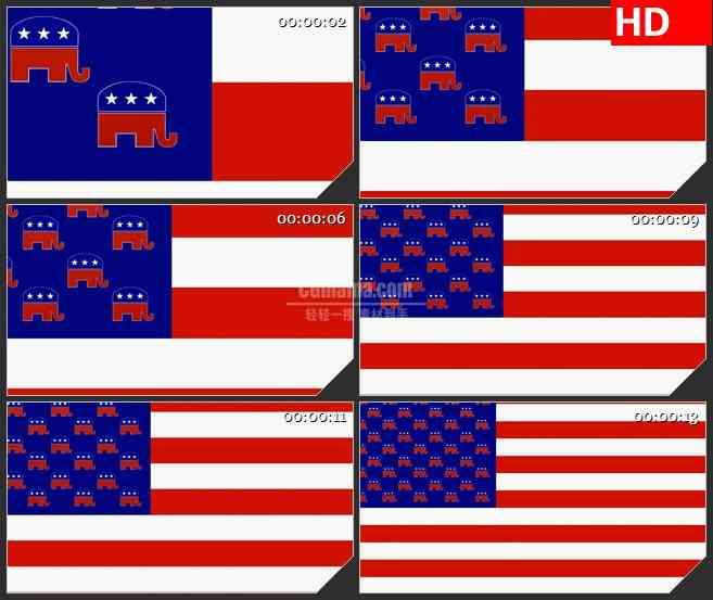 BG2633共和党旗帜镜头由近及远高清led大屏视频背景素材