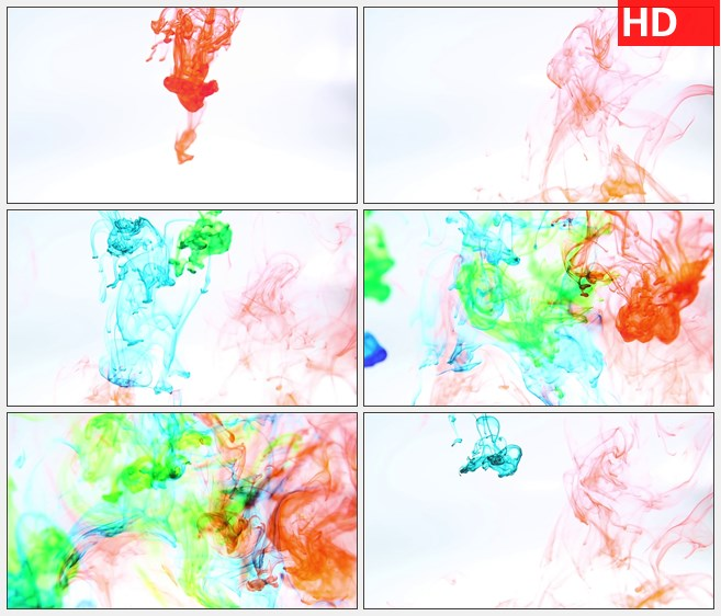 ZY1259彩色水墨落下高清特效实拍视频素材