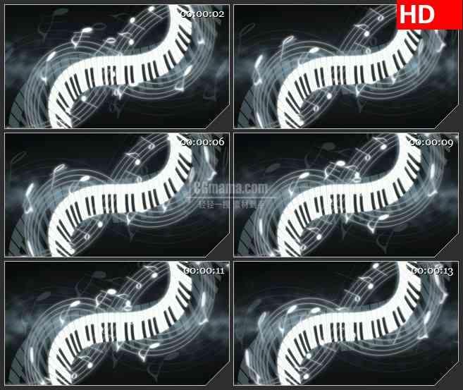 BG2637滚动钢琴键和五线谱音符黑色背景高清led大屏视频背景素材