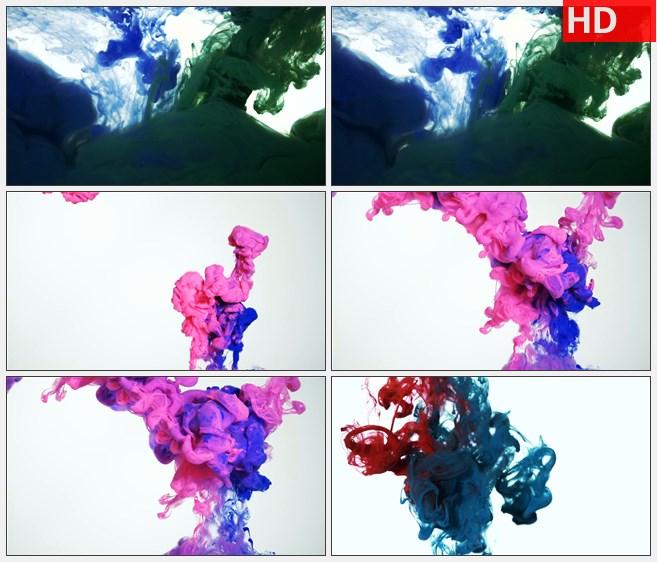 zy1260彩色水墨墨水交汇高清特效视频素材