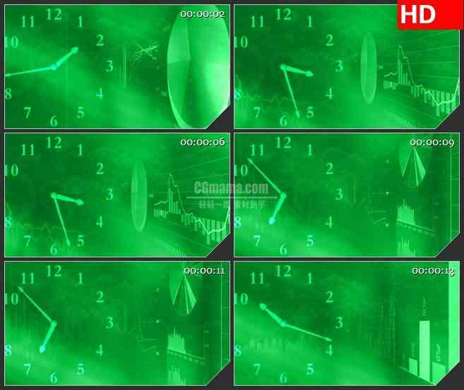 BG2638滚动时钟变化荧光绿色背景高清led大屏视频背景素材