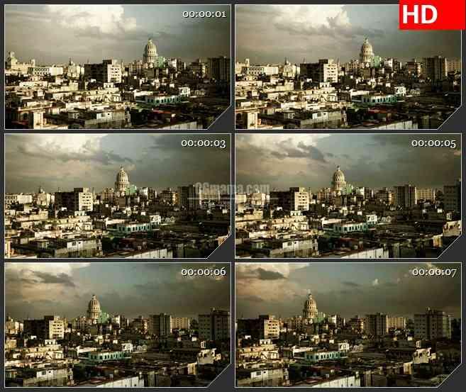 BG2642哈瓦那天空城市建筑俯视镜头移动高清led大屏视频背景素材
