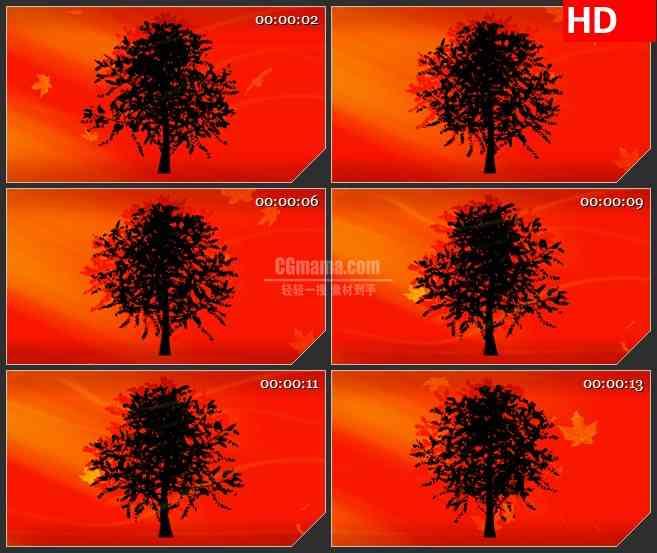 bg2645黑色阴影树叶子飘落红色背景旋转高清led大屏视频背景素材