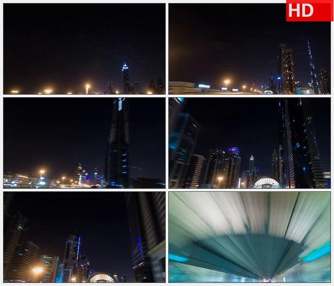 ZY1274城市快速穿梭高楼霓虹街道夜景高清实拍视频素材