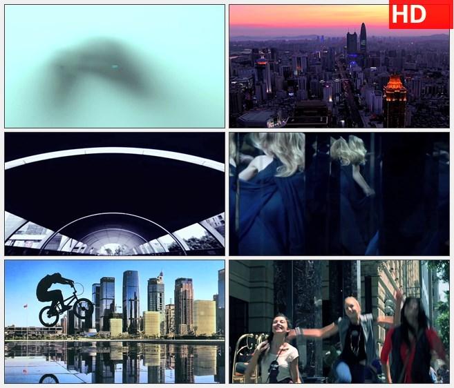 ZY1275城市汽车建筑设计师游乐园游人游玩酒吧夜景科技未来高清实拍视频素材